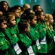 Crianças cantam o Hino Nacional
