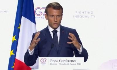 Emmanuel Macron em conferência de imprensa